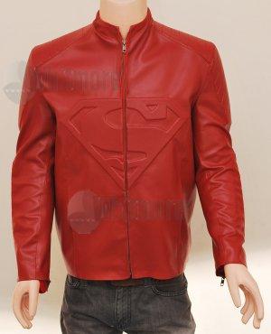 Superman Smallville Stylish Red Original Leather Embossed Jacket