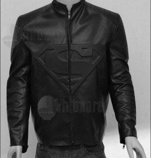 Superman Smallville Stylish Black Original Leather Embossed Jacket