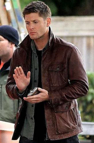 Men's Supernatural Season 7 Dean Winchester Genuine Brown Cow Leather Jacket / Coat