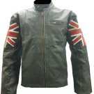 Mens Biker Classic Cafe Racer Union Jack Black Leather Jacket