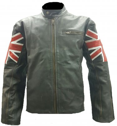 Mens Biker Classic Cafe Racer Union Jack Black Leather Jacket