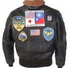 Top Gun Tom Cruise Men Fighter Jet Pilot Brown Fur Cow Hide Leather Jacket