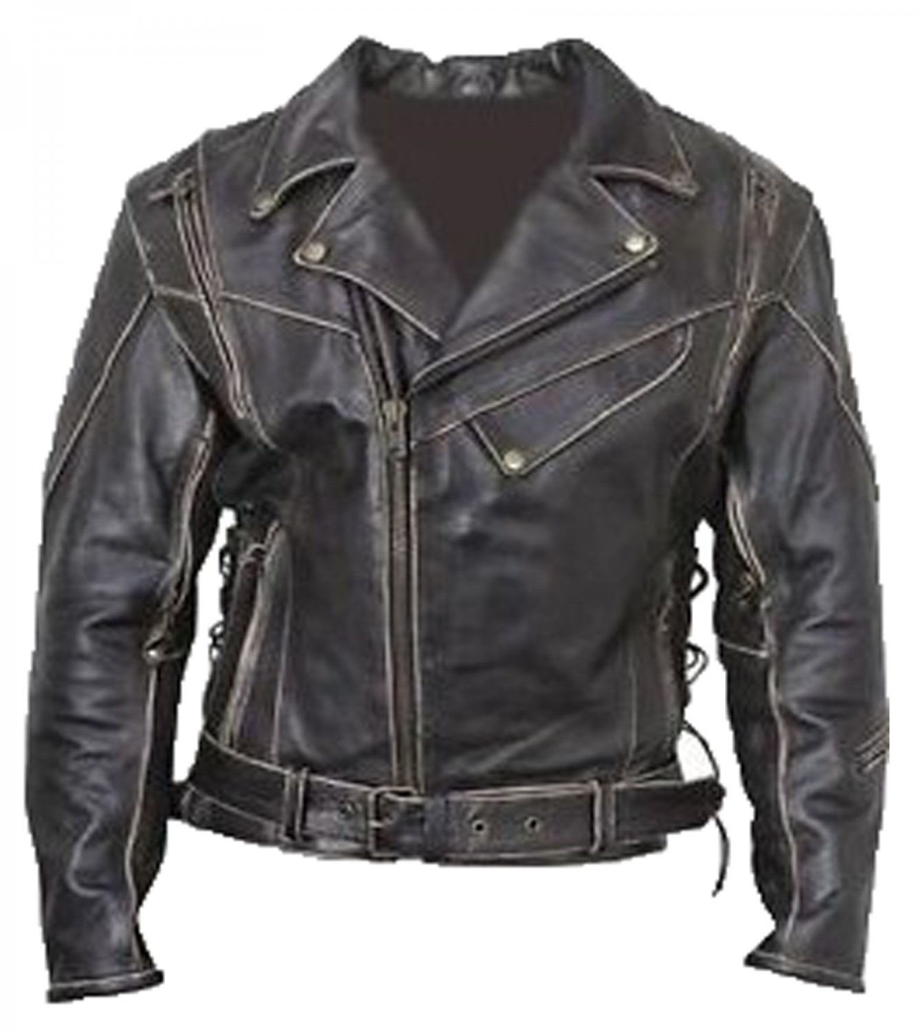 Vintage Classic Distressed Terminator Brando Biker Leather Jacket
