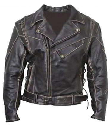 Vintage Classic Distressed Terminator Brando Biker Leather Jacket