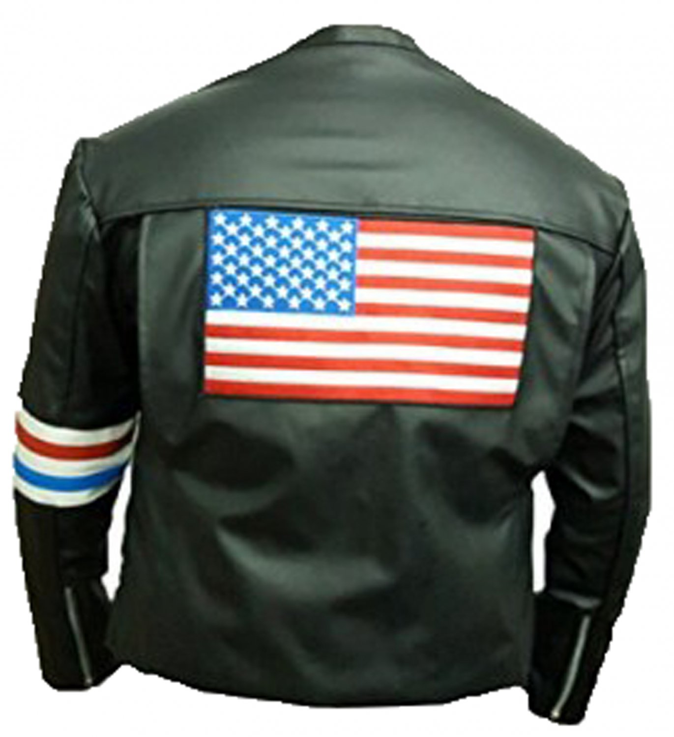 US Flag Easy Rider Peter Fonda Black CowHide Leather Jacket
