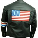 US Flag Easy Rider Peter Fonda Black CowHide Leather Jacket
