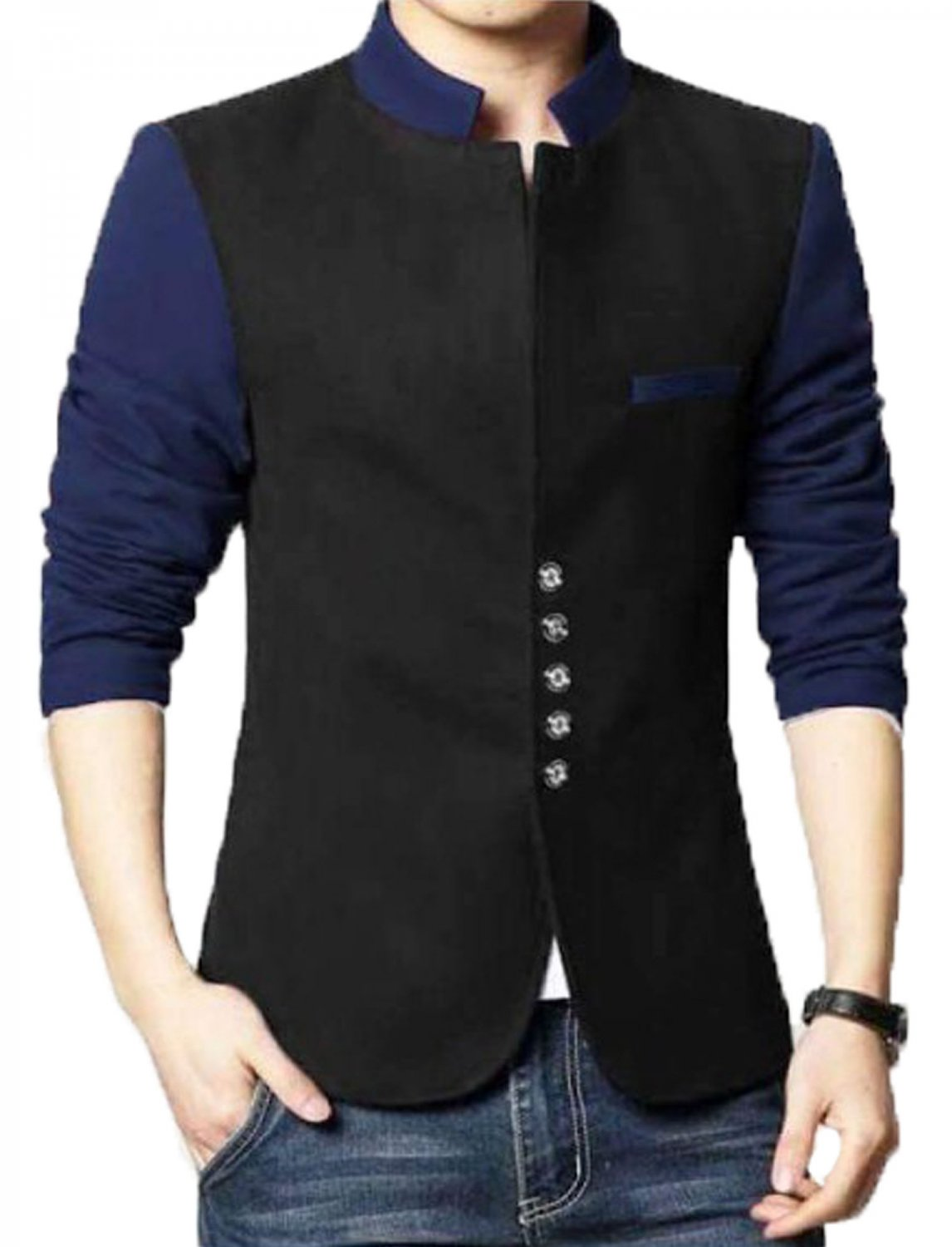 Men Slim Fit Casual Party Wear Fleece Black Waist Coat Vest