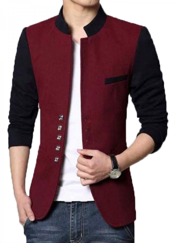 Men Slim Fit Casual Party Wear Fleece Maroon Waist Coat Vest