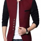 Men Slim Fit Casual Party Wear Fleece Maroon Waist Coat Vest