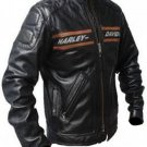 Bill Goldberg Harley Davidson Black Biker Faux Leather Jacket