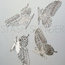 High Quality Large Silver Rhodium Plated Metal Butterfly Filigree Pendant Findings (4)