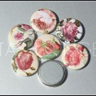 Lovely Pink Shabby Cottage Rose Floral Flatback Buttons (7)