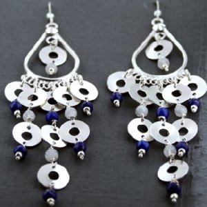 Lapis and Mother of pearl earrings