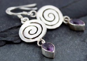 Swril amethyst earrings