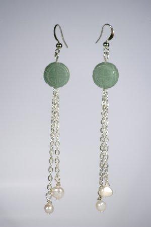 Green Jade and designer pearls Earrings