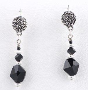 Black jet crystal earrings