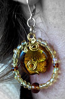 Hand Wired Gold and Brown Earings