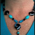Turquoise, black and silver necklace