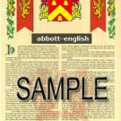 ABBOTT - ENGLISH - Coat of Arms - Family Crest - Armorial GIFT! 8.5x11