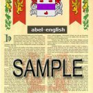 ABEL - ENGLISH - Coat of Arms - Family Crest - Armorial GIFT! 8.5x11