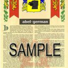 ABEL - GERMAN - Coat of Arms - Family Crest - Armorial GIFT! 8.5x11