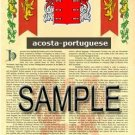 ACOSTA - PORTUGUESE - Coat of Arms - Family Crest - Armorial GIFT! 8.5x11