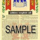 ADKINS - ENGLISH - ALT - Coat of Arms - Family Crest - Armorial GIFT! 8.5x11