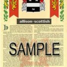 ALLISON - SCOTTISH - Coat of Arms - Family Crest - Armorial GIFT! 8.5x11