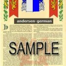 ANDERSEN - GERMAN - Coat of Arms - Family Crest - Armorial GIFT! 8.5x11