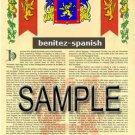 BENITEZ - SPANISH - Coat of Arms - Family Crest - Armorial GIFT! 8.5x11
