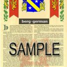 BERG - GERMAN - Coat of Arms - Family Crest - Armorial GIFT! 8.5x11