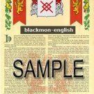 BLACKMON - ENGLISH - Coat of Arms - Family Crest - Armorial GIFT! 8.5x11