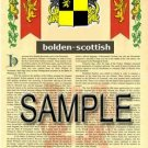 BOLDEN - SCOTTISH - Coat of Arms - Family Crest - Armorial GIFT! 8.5x11