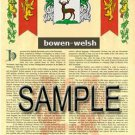 BOWEN - WELSH - Coat of Arms - Family Crest - Armorial GIFT! 8.5x11