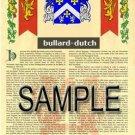 BULLARD - DUTCH - Coat of Arms - Family Crest - Armorial GIFT! 8.5x11