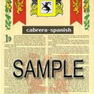 CABRERA - SPANISH - Coat of Arms - Family Crest - Armorial GIFT! 8.5x11
