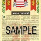 CANO - SPANISH - Coat of Arms - Family Crest - Armorial GIFT! 8.5x11