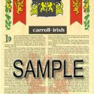 CARROLL - IRISH - Coat of Arms - Family Crest - Armorial GIFT! 8.5x11
