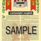 CARTWRIGHT - ENGLISH - Coat of Arms - Family Crest - Armorial GIFT! 8.5x11