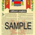 CLIFFORD - ENGLISH - Coat of Arms - Family Crest - Armorial GIFT! 8.5x11