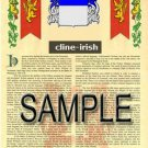 CLINE - IRISH - Coat of Arms - Family Crest - Armorial GIFT! 8.5x11