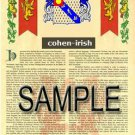 COHEN - IRISH - Coat of Arms - Family Crest - Armorial GIFT! 8.5x11