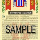 CONTRERAS - SPANISH - Coat of Arms - Family Crest - Armorial GIFT! 8.5x11