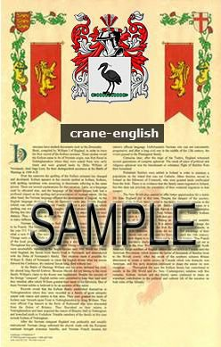 CRANE - ENGLISH - Coat of Arms - Family Crest - Armorial GIFT! 8.5x11