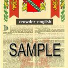 CROWDER - ENGLISH - Coat of Arms - Family Crest - Armorial GIFT! 8.5x11