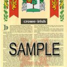 CROWE - IRISH - Coat of Arms - Family Crest - Armorial GIFT! 8.5x11