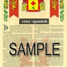 CRUZ - SPANISH - Coat of Arms - Family Crest - Armorial GIFT! 8.5x11