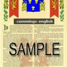 CUMMINGS - ENGLISH - Coat of Arms - Family Crest - Armorial GIFT! 8.5x11