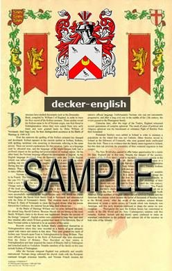 DECKER - ENGLISH - Coat of Arms - Family Crest - Armorial GIFT! 8.5x11