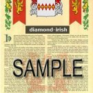 DIAMOND - IRISH - Coat of Arms - Family Crest - Armorial GIFT! 8.5x11